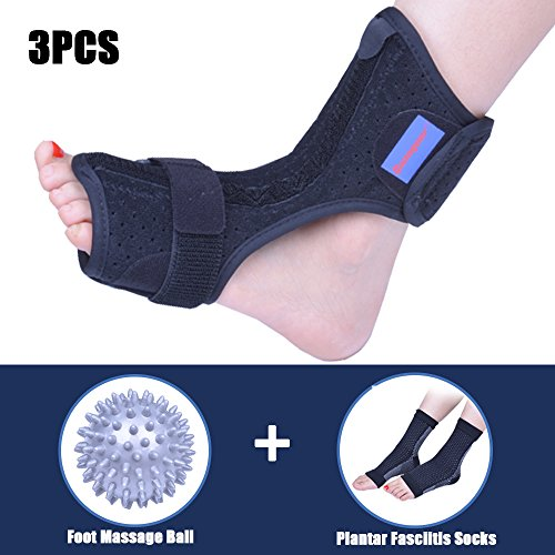 Plantar Fasciitis Dorsal Night Splint for Heel Pain Relief -Foot Drop Orthotic Brace for Sleep Support with Plantar Fasciitis Socks & Hard Spiky Massage Ball Fits Left and Right Foot (L/XL) ()
