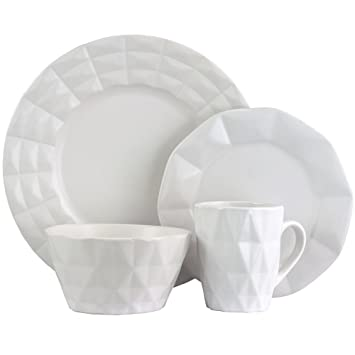 Elama Retro Chic 16-Piece Glazed Dinnerware Set in White  sc 1 st  Amazon.com & Amazon.com | Elama Retro Chic 16-Piece Glazed Dinnerware Set in ...