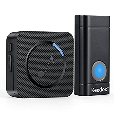 Keedox Wireless Doorbell Kit Remote Button Operating at 500-1000 ft Range,52 Chimes, 4 Level Volume, LED Indicator,Plug-In AC Receiver[1 Transmitter 1 Receiver]