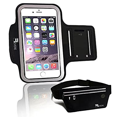 Armband + Running Belt for iPhone 6s 6 5 5s / Samsung Galaxy S7 S6 S5. Gym Workout Training Runner Cellphone Arm Band Sleeve Pouch Holder (Black Set)