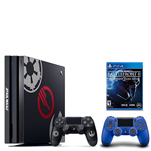 PS4 Star Wars Bundle (2 Items): PlayStation 4 Pro 1TB Limited Edition Console – Star Wars Battlefront II Bundle and an Extra PS4 Dualshock 4 Wireless Controller – Wave Blue
