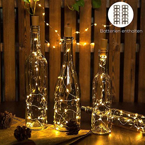 Merisny Luz Botella Guirnalda LED 100CM * 20 LED Blanco Cálido, 6 Pilas Incluidas, Pack de 9 Cadenas de Luces, Decoración de Fiestas y Luces de Navidad ect.