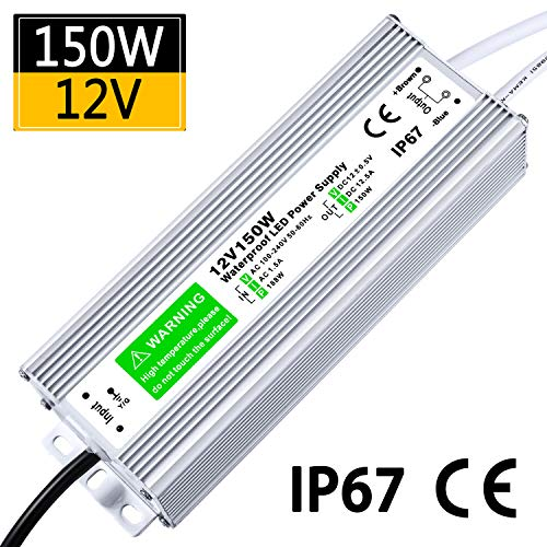 LED Driver 150W 12.5A Waterproof IP67 Power Supply 12V DC Transformer Adapter Thinner and Durable Low Voltage Power Supply for LED Strip Lights LED Module and Power Accessories 5 Year Warranty (12v Ac 150w Electronic)
