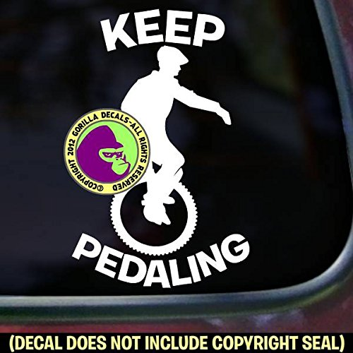 KEEP PEDALING Mountain Unicycle Vinyl Decal Sticker C