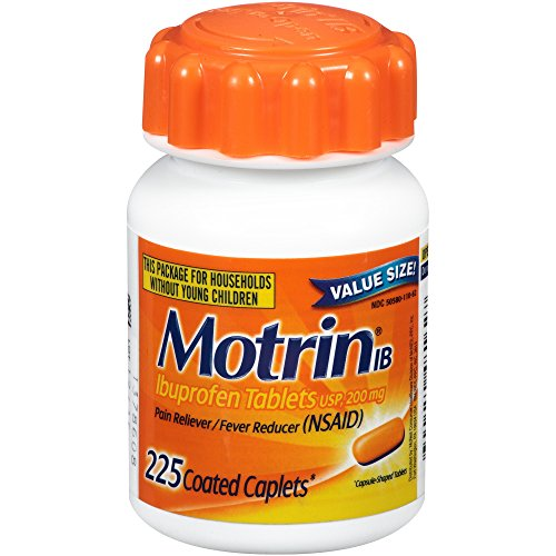 Motrin IB Ibuprofen Pain Reliever, Coated Caplets, 225 Count