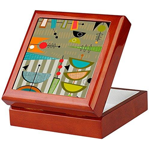 CafePress - Mid-Century Modern Abstract - Keepsake Box, Finished Hardwood Jewelry Box, Velvet Lined Memento Box (Hardwood Box With Lid compare prices)