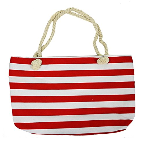 Striped Canvas Large Tote Rope Handles, Red