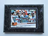 """B'More Boppers Baltimore Orioles Topps 2017 player card mounted on a 4"""" x 6"""" black marble plaque"""