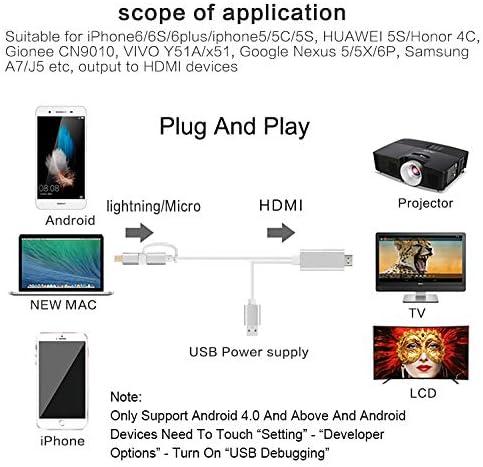 2en 1Câble HDMI HDTV TV AV numérique Adaptateur 1080P Câble convertisseur pour iPhone 6786Plus 7plus pour Samsung Huawei Xiaomi Silver rose