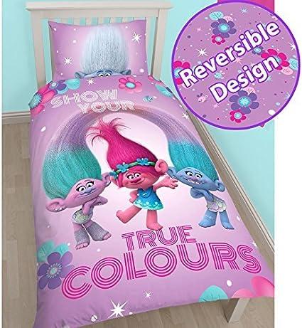 Trolls Poppy UK Single//US Twin Cotton Duvet Cover and Pillowcase Set