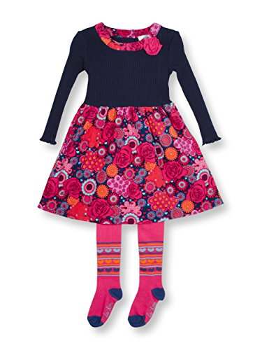 Le Top Kaleidoscope Little Girl Corduroy Dress With 3D Flower & Legging Set -4