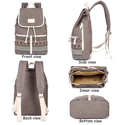 Casual Backpack Purse for Women,Canvas School Backpack Shoulder Bag Large Capacity Rucksack Bookbag fit Womens girls Ladies Travel Daypack by BTOOP (Image #2)