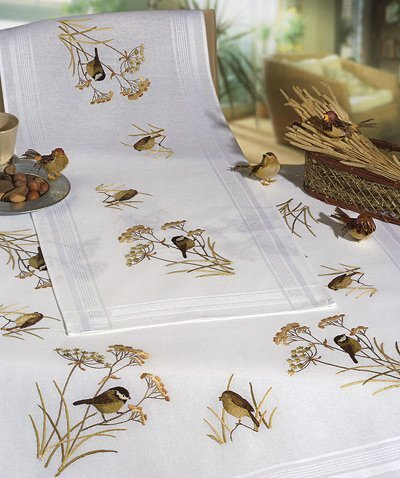 Bird Display 80 x 80cm Embroidery Tablecloth Kit