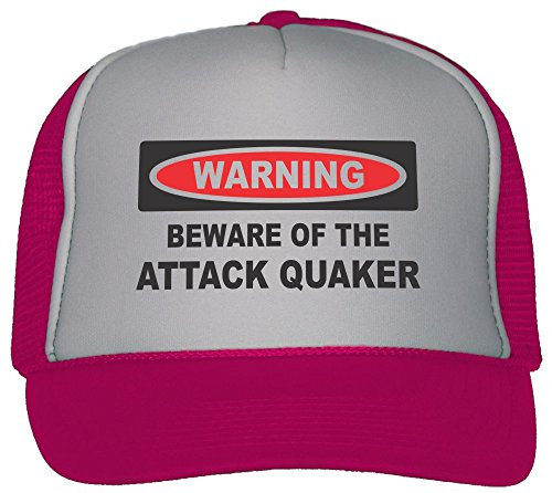 T-ShirtFrenzy Beware Of The Attack Quaker Trucker Hat Cap Hot Pink