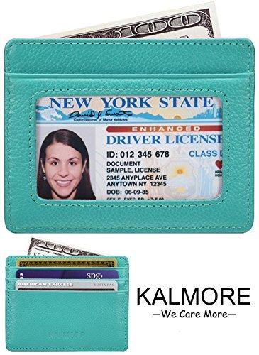 KALMORE Unisex-Adult's Petite Credit Card Holder Leather Slim Minimalist Wallet, Light Blue With Id window, Classic