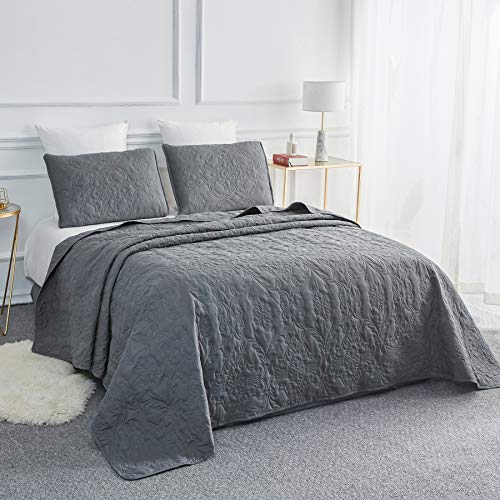Sophia and William 3-Piece Quilt Set, Twin Size Bedspread Coverlet Set Lightweight, Hypoallergenic, Iron Grey (Solid Quilt Twin)
