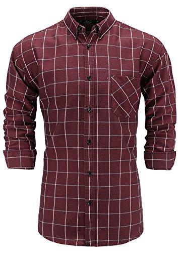 Dress Plaid Sleeve Long Shirt (Emiqude Men's 100% Cotton Slim Fit Long Sleeve Button Down Plaid Dress Shirt Large Red White)