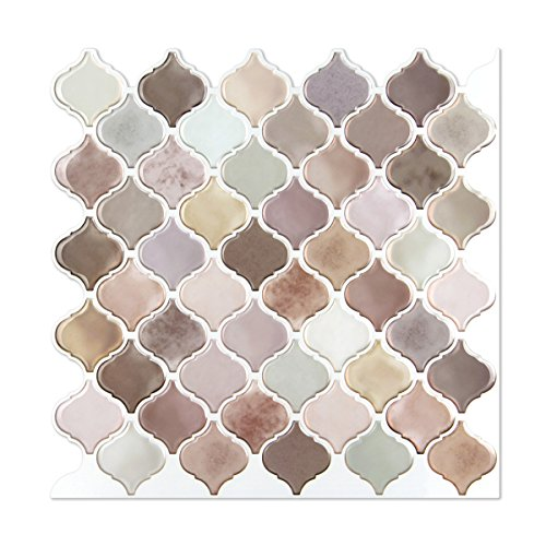 """Arabesque Mosaic Wall Stick Tiles Peel and Stick Self-Adhesive DIY Backsplash Stick-on Vinyl Wall Tiles for Kitchen and Bathroom 10"""" X 10"""" Each, 4 Sheets Pack (Pink & Gray Mixed)"""