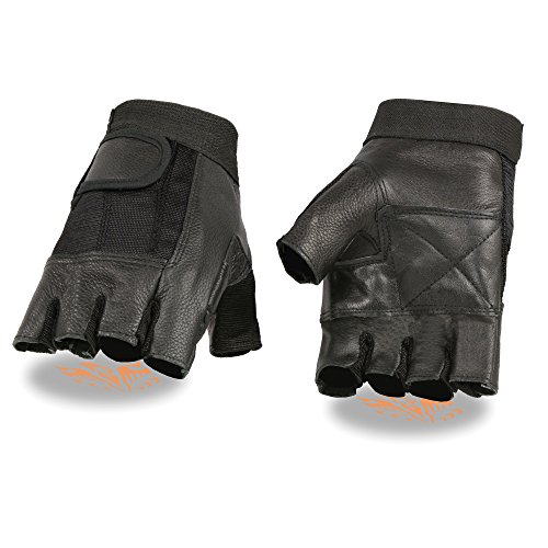 ZOOM LEATHER-Men's Leather & Mesh Fingerless Glove w/Padded Palm-BLACK-LG