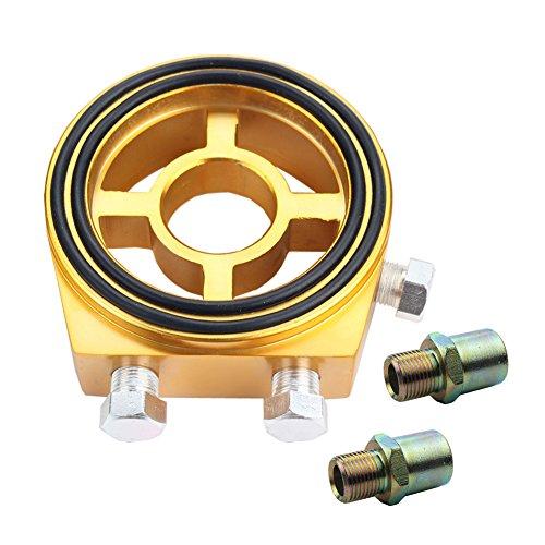 [Dewhel Racing Sport JDM Aluminum Oil/Gauge Filter Sandwich Adapter Plate Kit Color Gold] (Oil Temp Sensor Adapter)