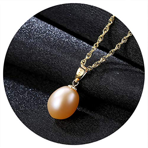 18K Yellow Gold Pendant Red Freshwater Pearl Pendant Necklace Gift For Women Brand Party Pearl Pendants With 45Cm 925 Chain Pink 8-9mm (Freshwater Pearl Scarf Necklace)