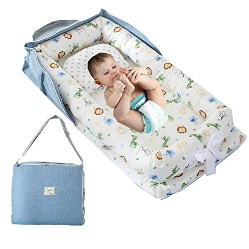 Newborn Baby Nest Bed and Baby Lounger,Animals World Blue Baby Bassinet Cot Bed Super Soft and Comfortable Baby Portable Crib Baby Lounger with Bag Perfect for Travel/Co-Sleeping