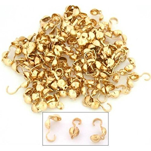 100 Bead Tips Clamshell Gold Plated Bead Stringing Parts