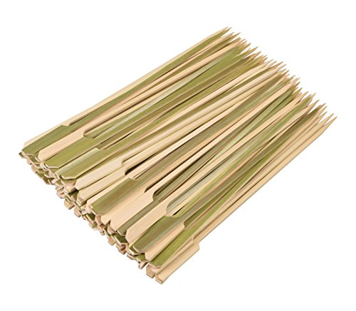 Ahyapiner 8 Inch Natural Bamboo Skewers 100 Pcs BBQ Skewers for Grill Party Sandwich Cocktail Paddle (100 Pc Bamboo Skewers)