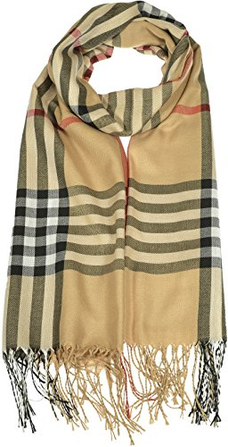 Hand By Hand Aprileo Women's Plaid Scarf Checkered Classic Long Wrap Shawl [Light Brown.](One Size)