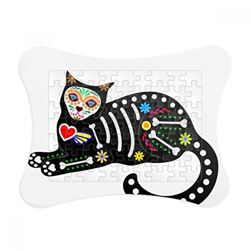 Sit Black Cat Bone Heart Halloween Terror Atmosphere Paper Card Puzzle Frame Jigsaw Game Home Decoration Gift for $<!--$16.99-->