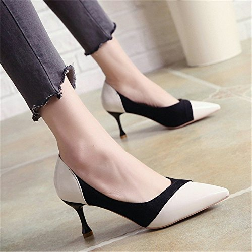 de Que Blanco Temperamento Alto Zapatos Vino Zapatos PU Tacón empalma Zapatos con Mediano con GaoHX Color 36 Color de Individuales de Tamaño Mezclado PwRqtMTFKx