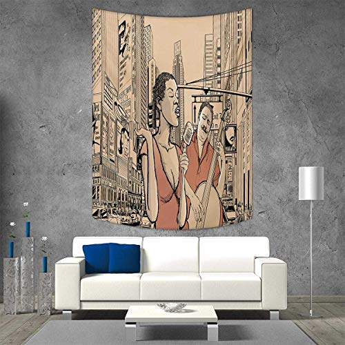 smallbeefly Jazz Music Home Decorations Living Room Bedroom Jazz Singer Double-Bass Player in a Street York Urban Lifestyle Wall Art Home Decor 70W x 93L INCH Brown Beige