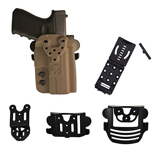 Modular Rail (SIG SAUER P250 (no rail), P320, P226, P229 OWB Kydex Modular Multi-Fit Holster with Belt, Paddle, Drop Offset and Push Button Belt Locking Mount, Flat Dark Earth)