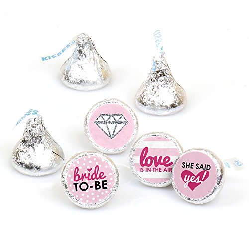 Bride-to-Be - Bridal Shower & Classy Bachelorette Party Round Candy Sticker Favors - Labels Fit Hershey's Kisses (1 Sheet of 108) -