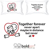 BOLDLOFT Together Forever Couple Pillowcases for Him and Her| Valentines Gifts for Him| Anniversary Gifts for Couples| His and Hers Gifts| Romantic Gifts for Him| Long Distance Relationships Gifts