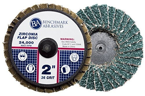 Benchmark Abrasives 2'' Quick Change Roloc Zirconia Flap Discs - 10 Pack (36 Grit)