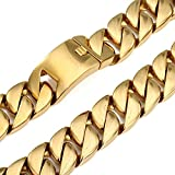 Amythyst Yellow Tone Stainless Steel Heavy Biker Style Curb Link Chain Necklace for Men