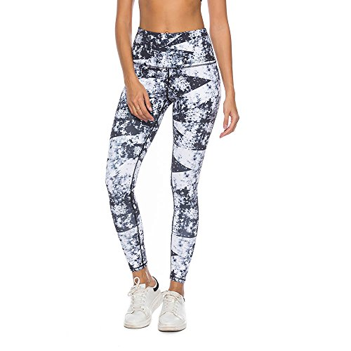 Mint Lilac Women's High Waist Printed Yoga Pants Full-Length Tummy Control Workout Leggings Large