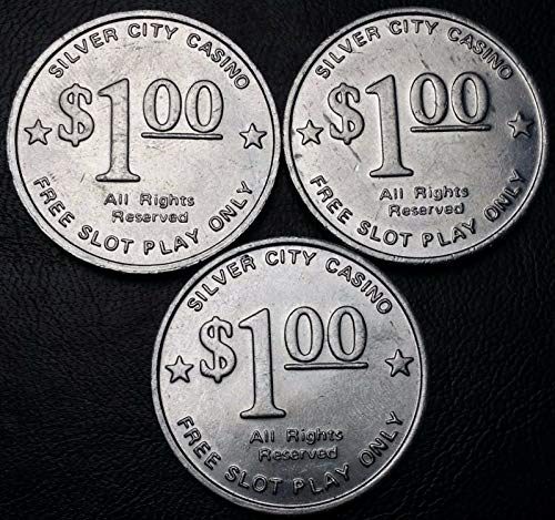 (3 Vintage Silver City Casino $1 Dollar Gaming Token Chips, Las Vegas, Nevada)
