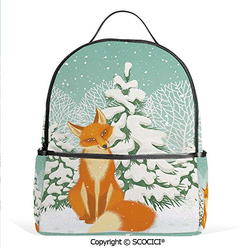 All Over Printed Backpack Red Fox Sitting in Winter Forest Snow Covered Pine Trees Xmas Cartoon Decorative,Orange White Almond Green,For Girls Cute Elementary School Bookbags ()