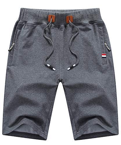 Pocket Waist Two Elastic (Tyhengta Mens Workout Shorts Elastic Waist Drawstring Summer Casual Short with Zipper Pockets Darkgray US 32)