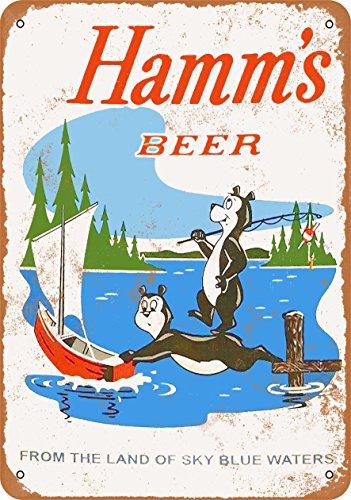Wall-Color 10 x 14 Metal Sign - 1956 Hamm's Beer Bears Fishing - Vintage Look