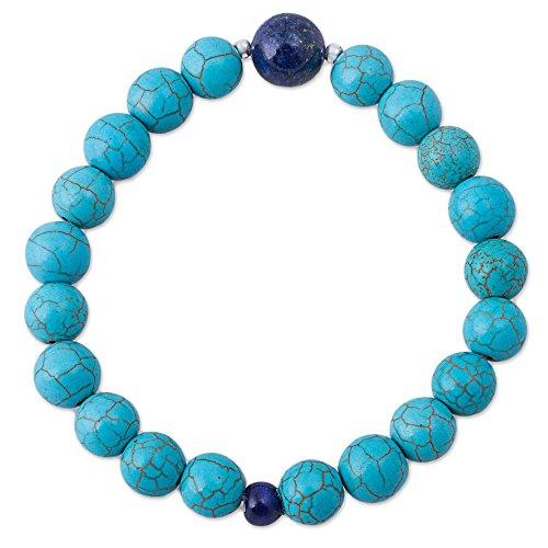 (NOVICA Multi-Gem Lapis Lazuli .925 Sterling Silver Beaded Bracelet, 7.25