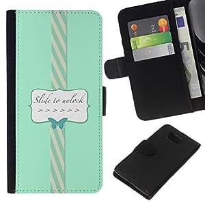 All Phone Most Case / Oferta Especial Cáscara Funda de cuero Monedero Cubierta de proteccion Caso / Wallet Case for Samsung ALPHA G850 // To Unlock Blue Teal Butterfly Text