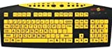 English Large Print Computer Keyboard with Wired USB Plug and Chord Oversized Black Letters on Yellow Background for Low Light and Weak Vision