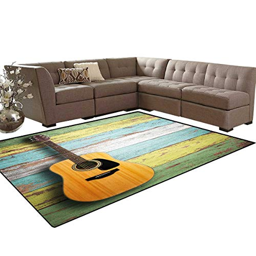 Music Decor Door Mats for Inside Acoustic Guitar on Colorful Painted Aged Wooden Planks Rustic Country Decor Bath Mat 5'x6' Multicolor