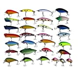 APG 30pcs 3D Eyes & Bright Color Crankbait Assorted Fishing Lures Spinner Baits Fish Hooks Tackle