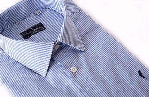 DOMENICO AMMENDOLA, Camicia Firenze a Righe Celesti, Regular Fit, Made in Italy