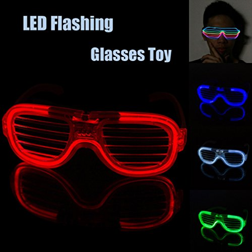 Nesee Novelty LED Glasses,Christmas Halloween Flashing LED Multi Color 'Slotted Shutter' Light Up Show Party Favor Toy Glasses (Blue) -