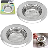 "2PCS Stainless-Steel Kitchen Sink Strainer - Large Wide Rim 4.45"" Diameter - Perfect for Kitchen Sinks (Large) - Fengbao"